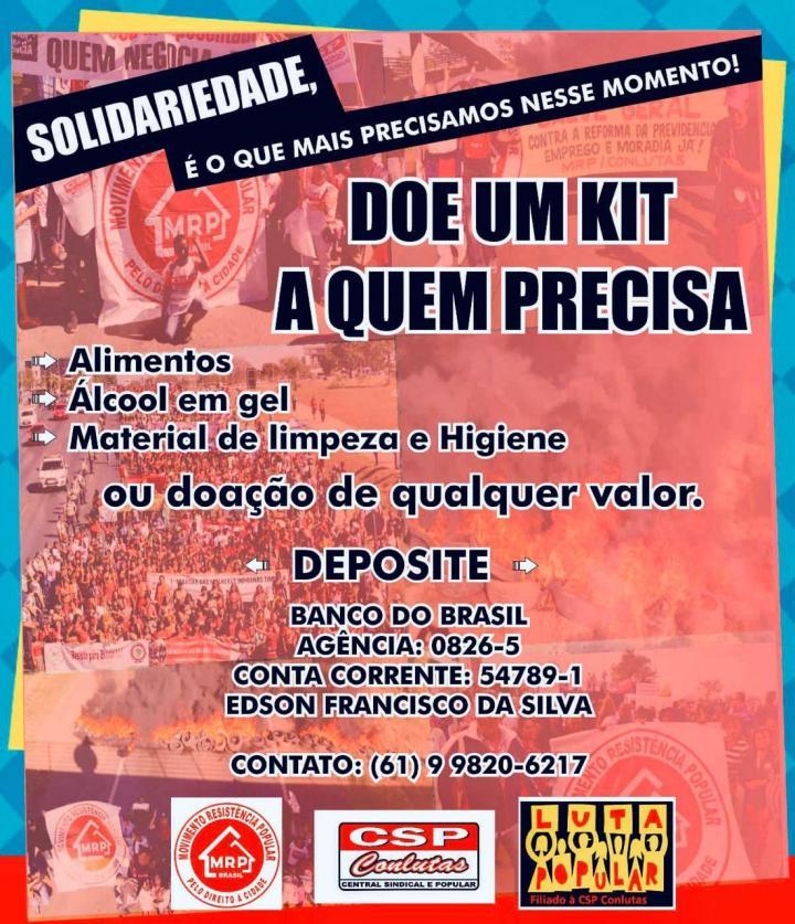 Urgente: Solidariedade com trabalhadores sem teto do Distrito Federal