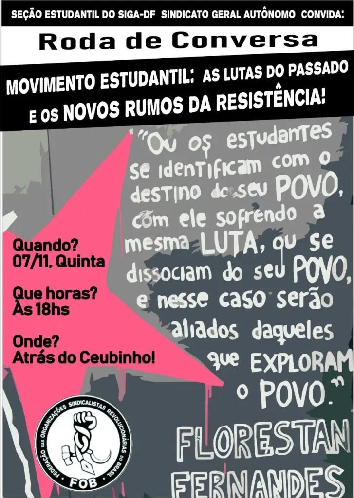 """Estudantes do SIGA-DF organizam roda de conversa: """"As lutas do passado e os novos rumos da Resistência"""", dia 07/11 na UnB"""