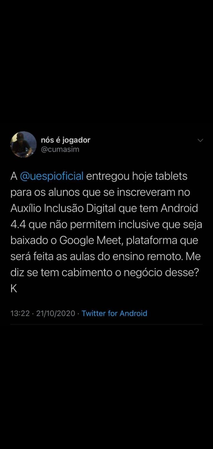 Twitter de estudante da UESPI (Universidade Estadual do Piauí) mostra a ingerência com materiais que deviam possibilitar acessibilidade na pandemia
