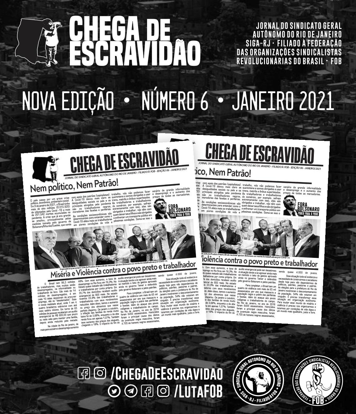 SIGA-RJ | Jornal Chega de Escravidão Nº 6 – Janeiro de 2021