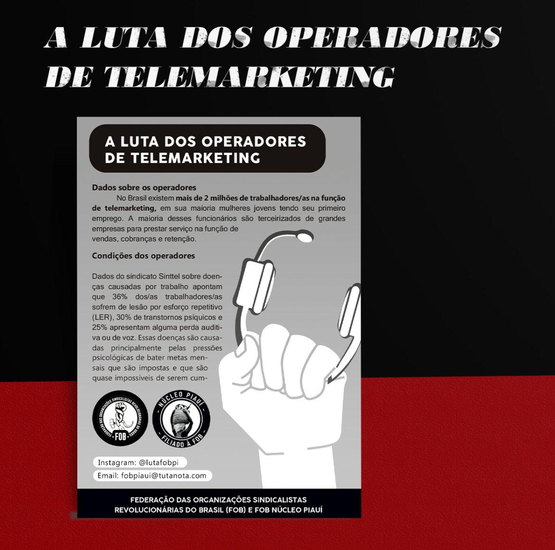 A luta dos operadores de telemarketing (baixe o panfleto da FOB PI)
