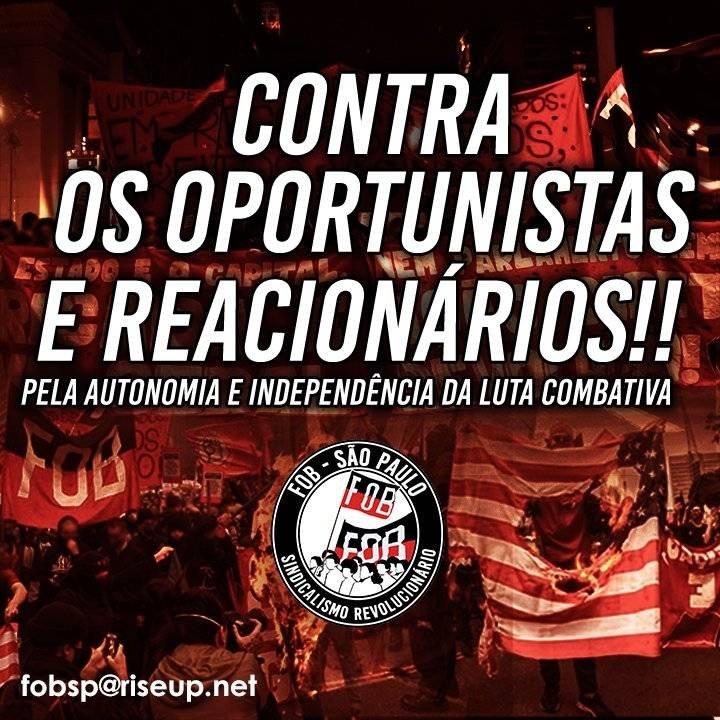PCB, PCdoB, PCO, CSP-Conlutas e UNE/UMES juntos com PSDB e a PMESP: Oportunistas e reacionários!